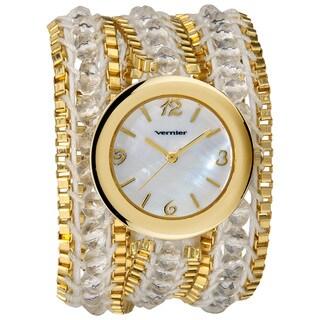 Vernier Women's Fashion Triple Wrap Bead and Chain Quartz Watch