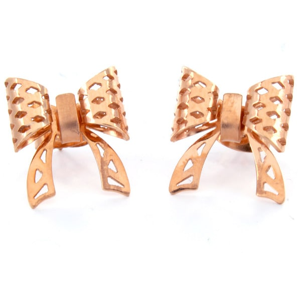 Stainless Steel Rose Gold-plated Bow Post Earrings
