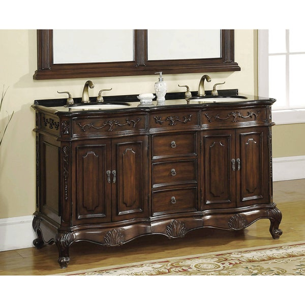 ICA Furniture 'Annette' Brown Cherry 2-sink Bathroom Vanity