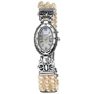 Vernier Women's Petite Oval Silver Case Pearl Bracelet Watch