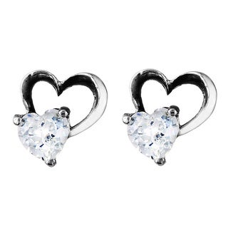 West Coast Jewelry Stainless Steel Cubic Zirconia Cut-out Heart Earrings