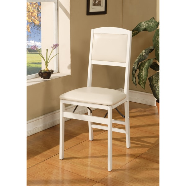 K&B White Finish Wooden Chairs (Set of 4)