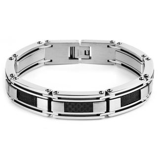Crucible Stainless Steel Black Carbon Fiber and Mesh Link Men's Bracelet