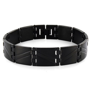 Crucible Blackplated Stainless Steel Wave Pattern Link Men's Bracelet