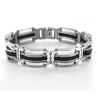 Crucible Blackplated Stainless Steel Striped Men's Bracelet