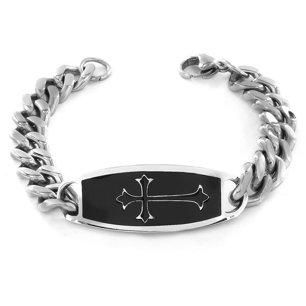 Crucible Stainless Steel Black Enamel and White Cross Design ID Bracelet