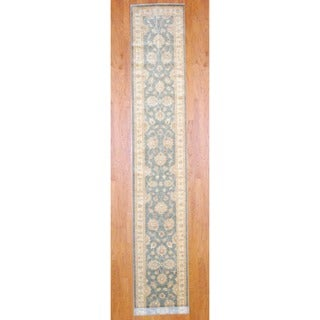 Afghan Hand-knotted Gray/ Ivory Vegetable Dye Wool Runner (2'10 x 17'2)