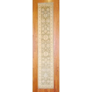 Afghan Hand-knotted Olive/ Ivory Vegetable Dye Wool Runner (2'9 x 14'6)