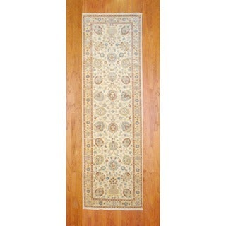 Afghan Hand-knotted Ivory/ Beige Vegetable Dye Wool Runner (4'1 x 13')