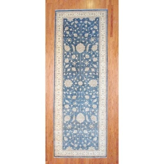 Afghan Hand-knotted Blue/ Ivory Vegetable Dye Wool Runner (5'2 x 14'4)