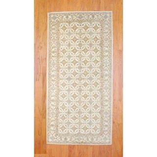 Afghan Hand-knotted Ivory/ Gold Vegetable Dye Wool Runner (4'11 x 9'11)