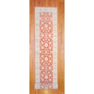 Afghan Hand-knotted Rust/ Ivory Vegetable Dye Wool Runner (4' x 26')