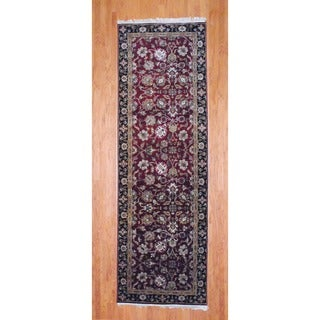 Indo Hand-knotted Burgundy/ Black Mahal Wool Runner (3'9 x 11'10)