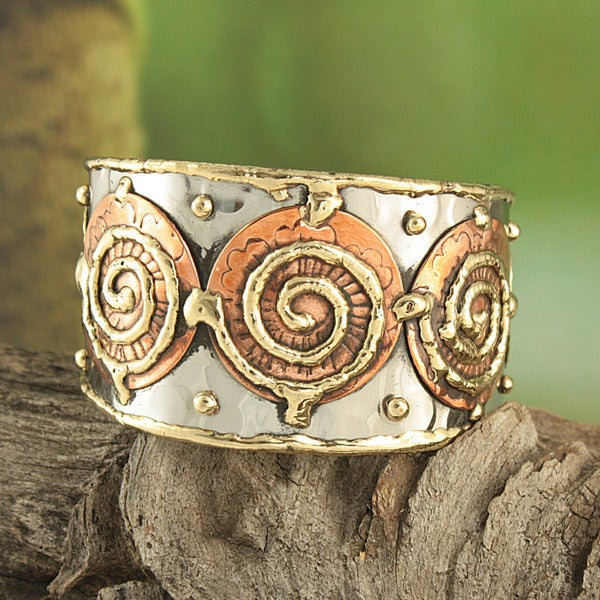 Handcrafted Hammered Brass and Copper Three Swirls Cuff Bracelet (India)