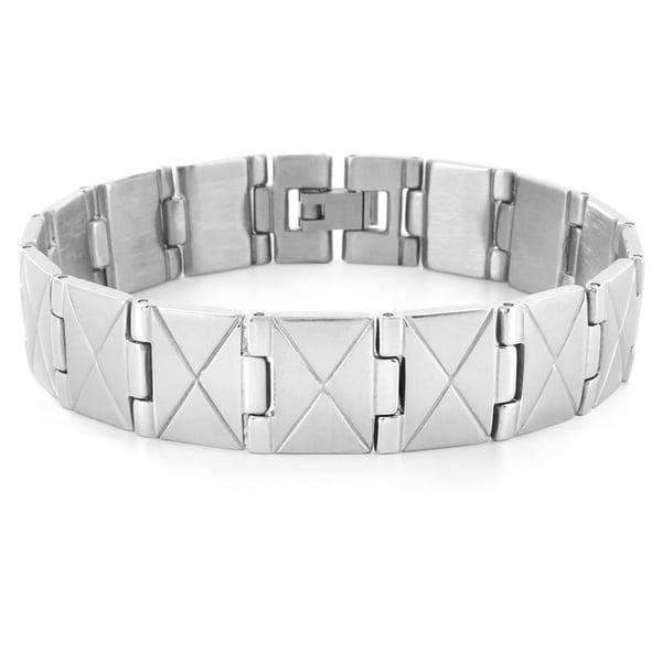 Crucible Stainless Steel X Design Link Men's Bracelet