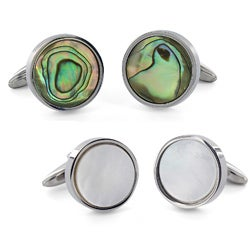 Crucible Stainless Steel Abalone Shell Inlay Round Cuff Links