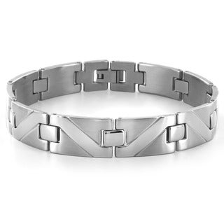 Crucible Stainless Steel Wave Pattern Design Link Bracelet