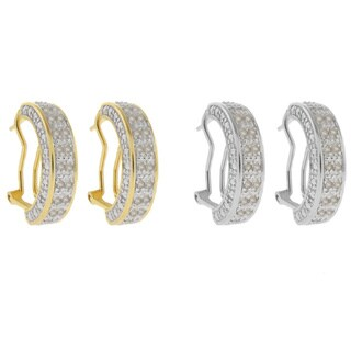 Finesque Sterling Silver 1/2ct TDW Diamond Half Hoop Earrings with Red Bow Gift Box