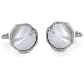 Crucible Stainless Steel White Shell Inlay Octagon Cuff Links