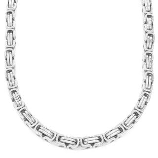 West Coast Jewelry Stainless Steel Men's Byzantine Chain Necklace