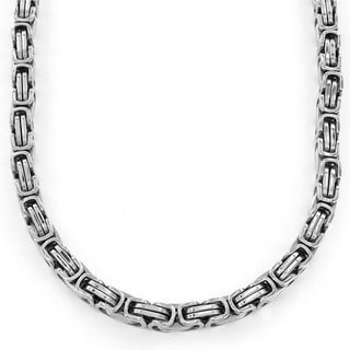 Stainless Steel Men's Byzantine Chain Necklace