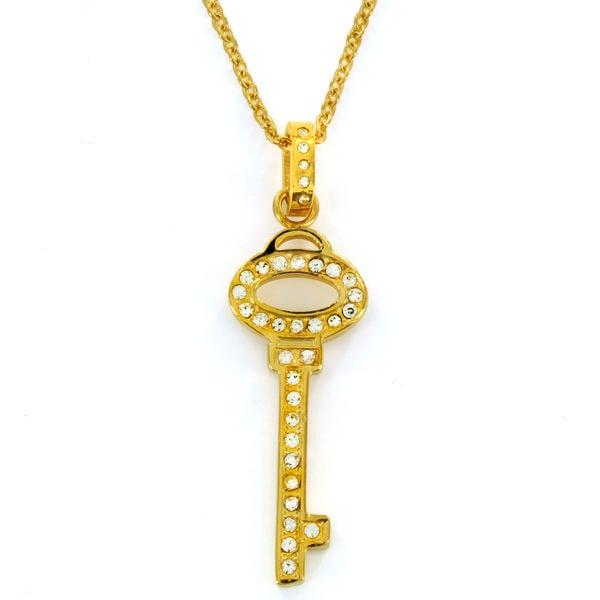 Goldtone Clear Cubic Zirconia Key Necklace