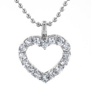 Stainless Steel Cubic Zirconia Cut-out Heart Necklace