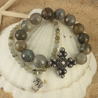 Handcrafted Faceted Labradorite Antique Cross and Om Stretch Bracelet (USA)