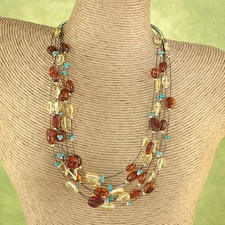 Handcrafted Baltic Amber And Turquoise Chips Necklace ( Lithuania)