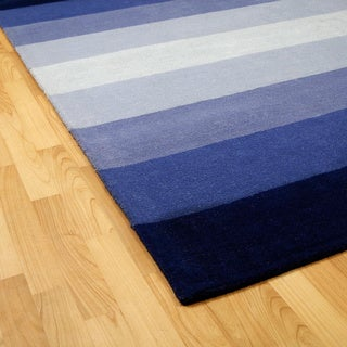 Hand-tufted Blue Stripes Wool Rug (5' x 8')