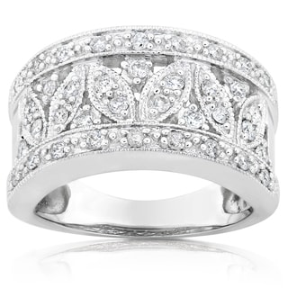 Annello 14k White Gold 1/2ct TDW Diamond Floral Anniversary Ring (H-I, I1-I2)