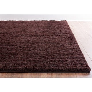 Shag Plus Plain Coffee Bean Brown Area Rug (6'7 x 9'10)