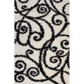 Shag Plush Area Rug Swirls Scrolls Black 3&#39;3 x 5&#39;3