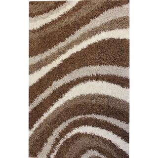 Shag Plush Area Rug Waves Brown 5' x 7'2