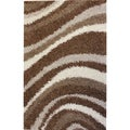 Shag Plush Area Rug Waves Brown 3'3 x 5'3