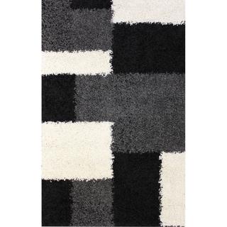 "Contemporary Geometric Plush Black Shag Area Rug 3'3"" x 5'3"""