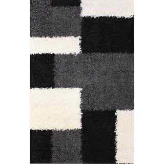 Shag Plush Area Rug Geometric Black 3'3 x 5'3