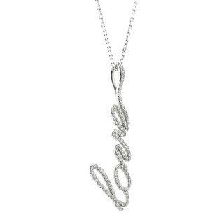 14k White Gold 4/5ct TDW Diamond 'Love' Necklace (H-I, SI1-SI2)