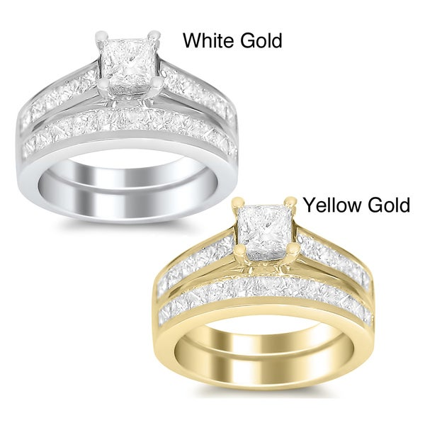 14k Gold 3ct TDW Princess-cut Diamond Bridal Ring Set (H-I, SI1-SI2)