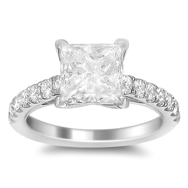 18k White Gold 5ct TDW Certified Princess Cut Solitaire Diamond Ring (H-I, I1)