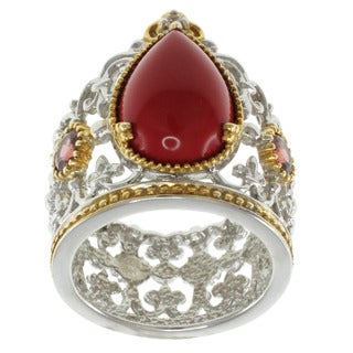 Michael Valitutti Two-Tone Reconstituted Coral and Garnet Ring