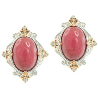 Michael Valitutti Two-Tone Rhodonite and White Sapphire Earrings