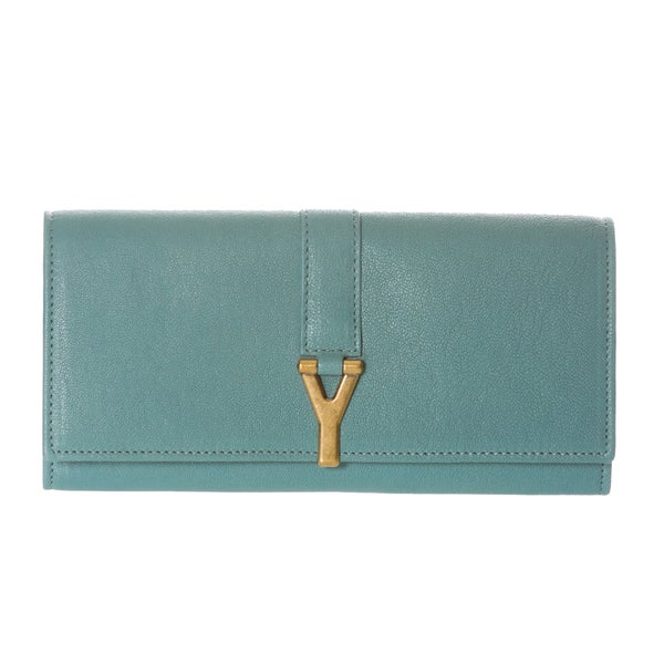 Yves Saint Laurent 'ChYc' Large Light Blue Leather Wallet