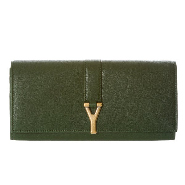 Yves Saint Laurent 'ChYc' Large Green Leather Wallet