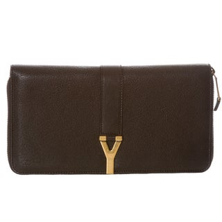 Yves Saint Laurent 'ChYc' Large Black Leather Wallet