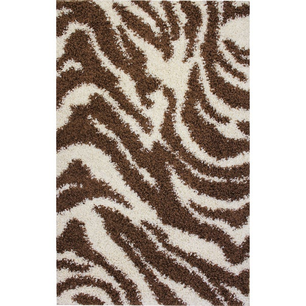 Shag Plush Zebra Brown Rug (6'7 x 9'10)