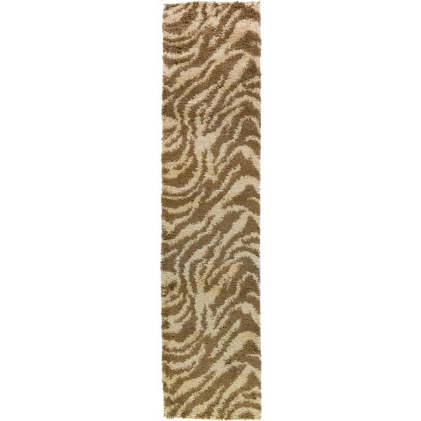 Shag Plush Zebra Brown Rug (20 X 7'2)