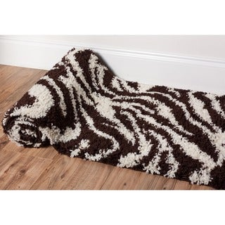 Shag Plush Zebra Brown Rug (20 x 7'2)
