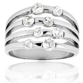 Stainless Steel Cubic Zirconia Split Band Ring