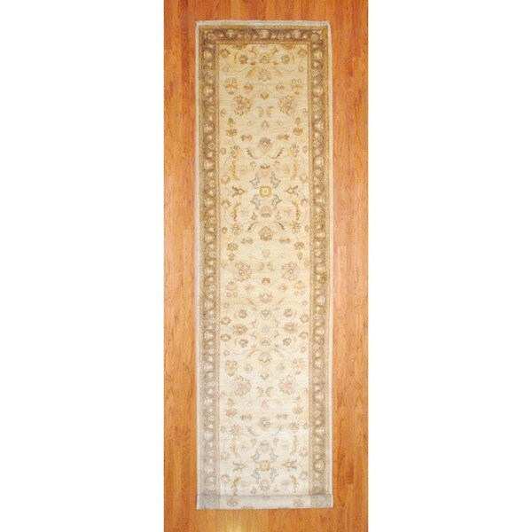 Afghan Hand-knotted Ivory/ Light Brown Vegetable Dye Wool Runner (4' x 18')